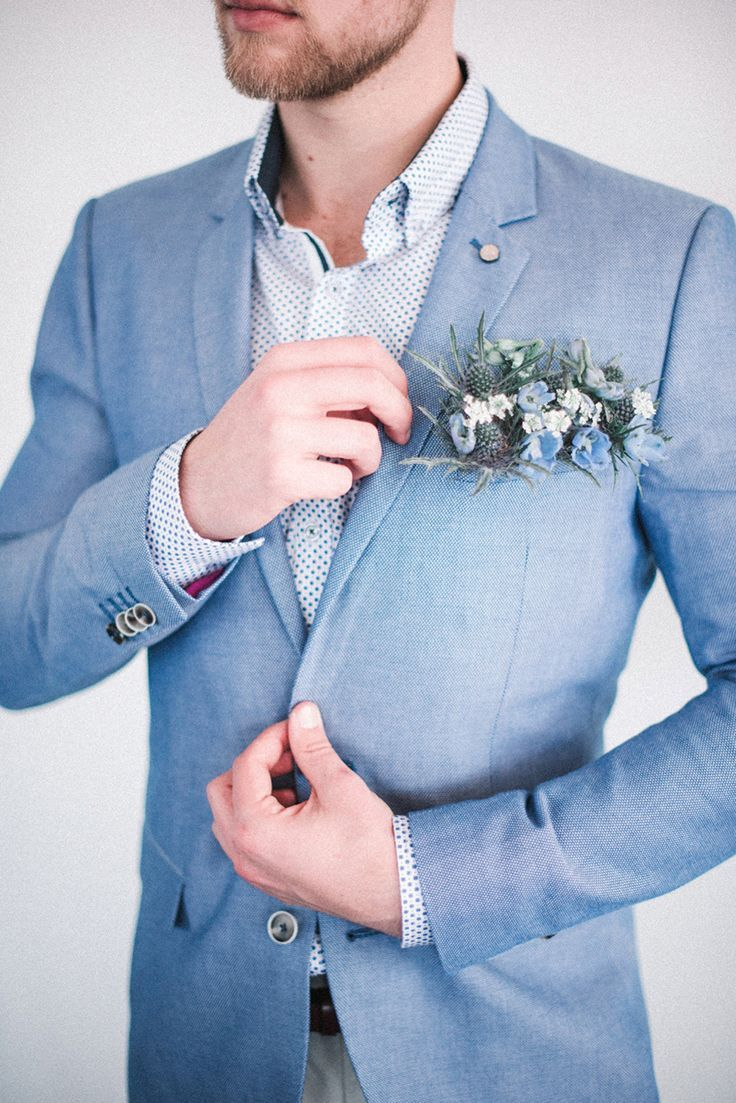 Dusty blue and green boutonniere // Groom fashion inspiration ...