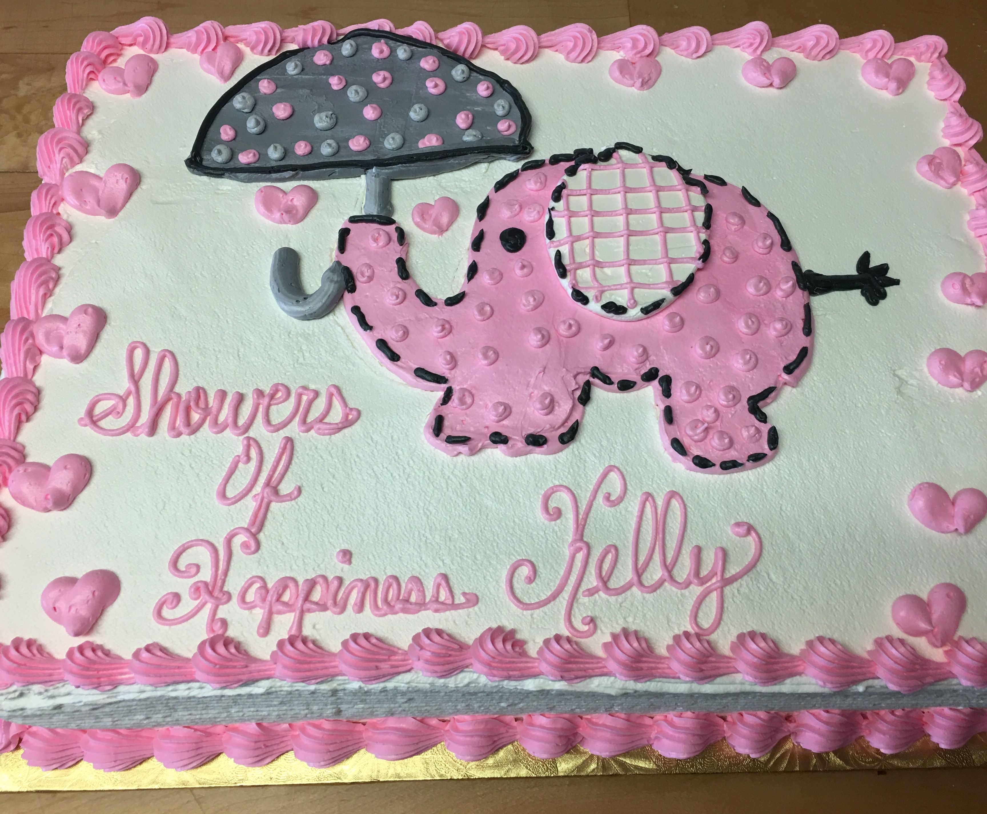 Pink and Grey Elephant Baby Shower Cake Mueller s Bakery