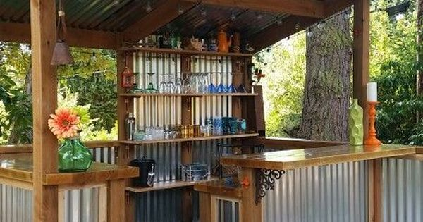 We think everyone needs a beautiful bar in their backyard. Great use of corrugated metal panels! | The great outdoors | Pinterest | Metal Panels, Corrugated Me…