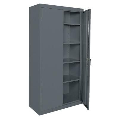 Sandusky Classic Series 36 In W X 78 In H X 24 In D Storage Cabinet With Adjustable Shelves In Charcoal Grey Locking Storage Cabinet Storage Cabinets Adjustable Shelving