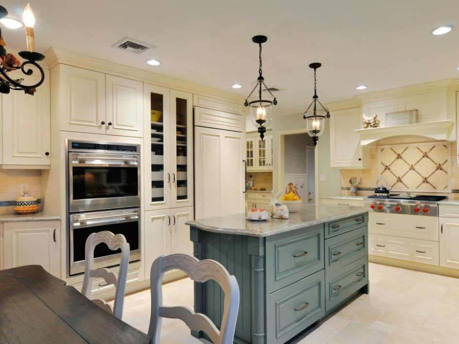 Kitchen Design, Cozy White French Country Style Kitchen Islands Design  White Cream Symmetrical Wooden Cabinets Also Drawers Storage Below Classic  Pendant ...