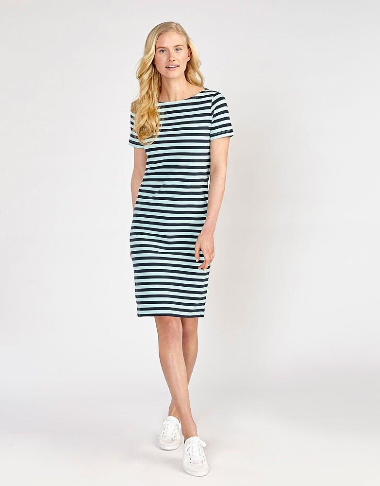 2b2ad5879876 Women's Short Sleeve Ultimate Breton Dress in Navy/Bright Aqua Stripe from Crew  Clothing