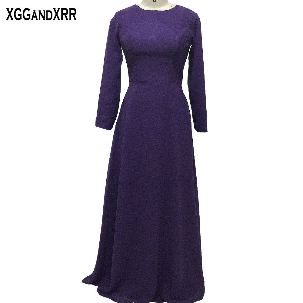 New arrival purple satin aline evening dresses scoop long