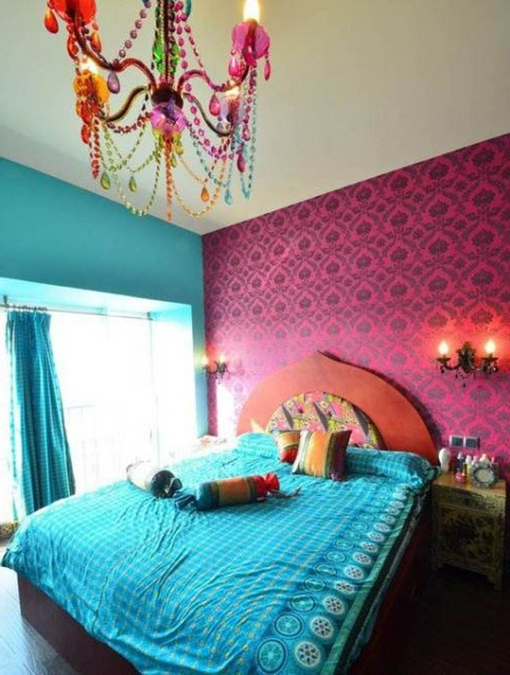Lovely Bedroom Ideas For Young Women : Wondeful Pink Floral Wall Decal and Turqu #indischesschlafzimmer