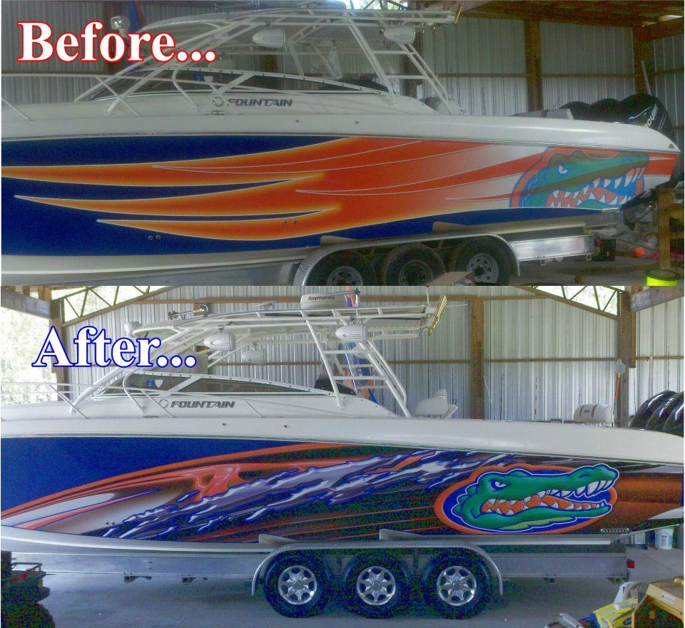 I'm sure Donald of Fibco, LLC is sporting his new Gator graphics at Crab Island as we speak. We just gave this beautiful 39' Fountain Offshore boat a facelift.