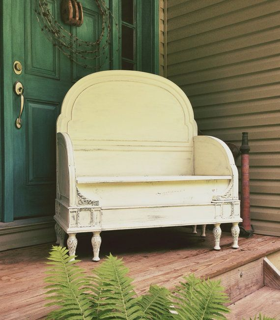 Antique Headboard Bench: UPcycled Antique Bench Storage Seat Chair Bed By