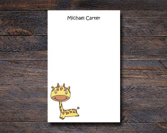 Personalized Giraffe Notepad - Cute Baby Giraffe Gifts for Kids - Custom Notepads for Kids | animal