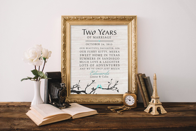 2 years together Cotton Anniversary Print 2nd Anniversary