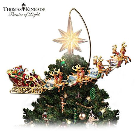 Thomas Kinkade Illuminated Animated Santa Claus Tree Topper Thomas Kinkade Christmas Christmas Tree Toppers Unique Christmas Trees