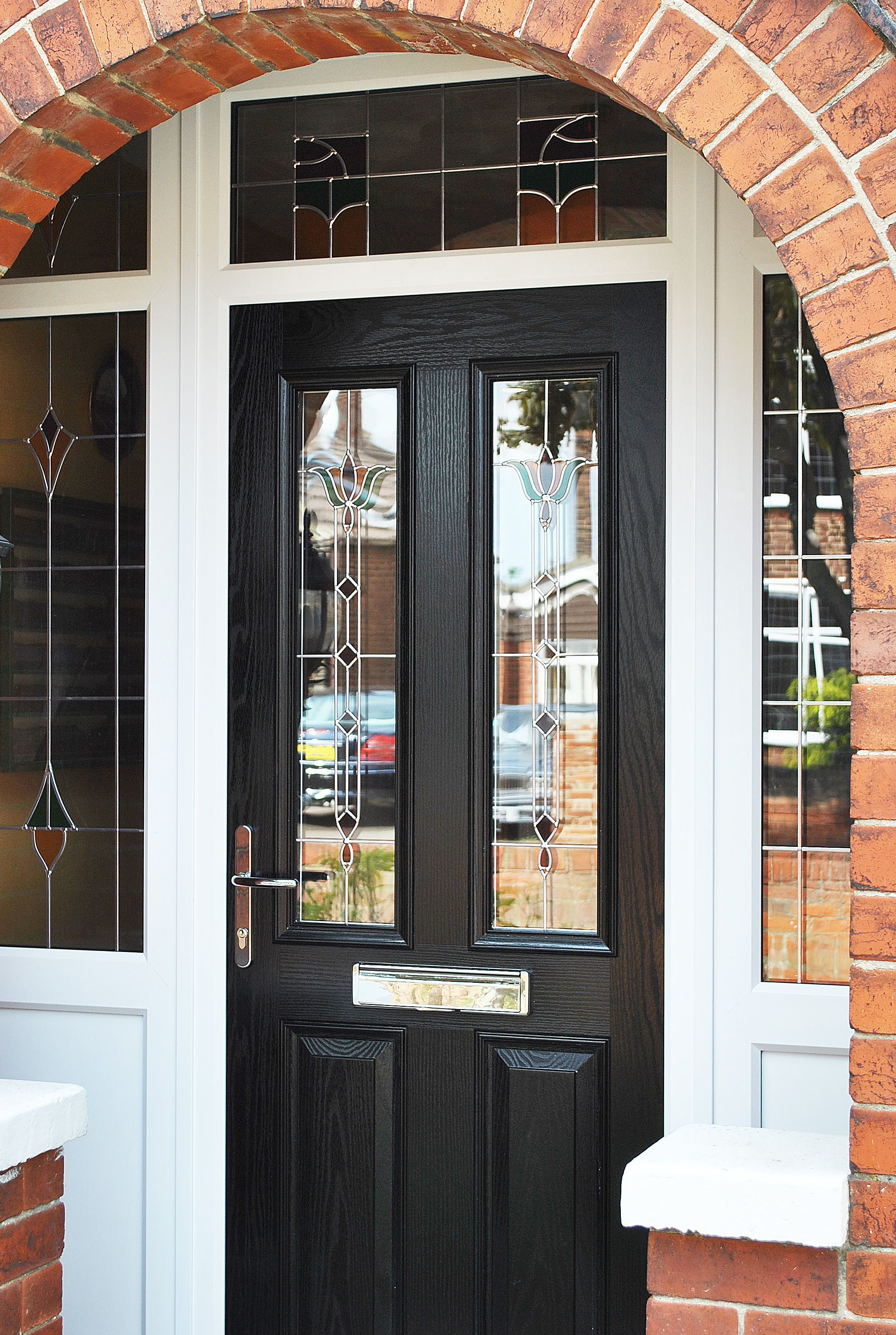 A stunning renovation of upvc rehau frames and windows for Front door with three windows