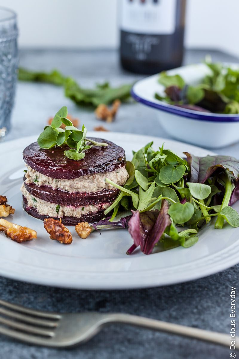 Vegan Beet Napoleon Recipe with walnut and chive cream - an easy and impressive appetiser that will wow your dinner party guests.