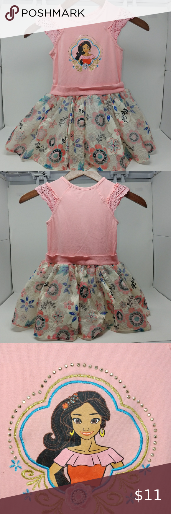 Disney Elena Dress Pink Floral Size 4t Pink Dress Dresses Disney Dresses [ 1740 x 580 Pixel ]