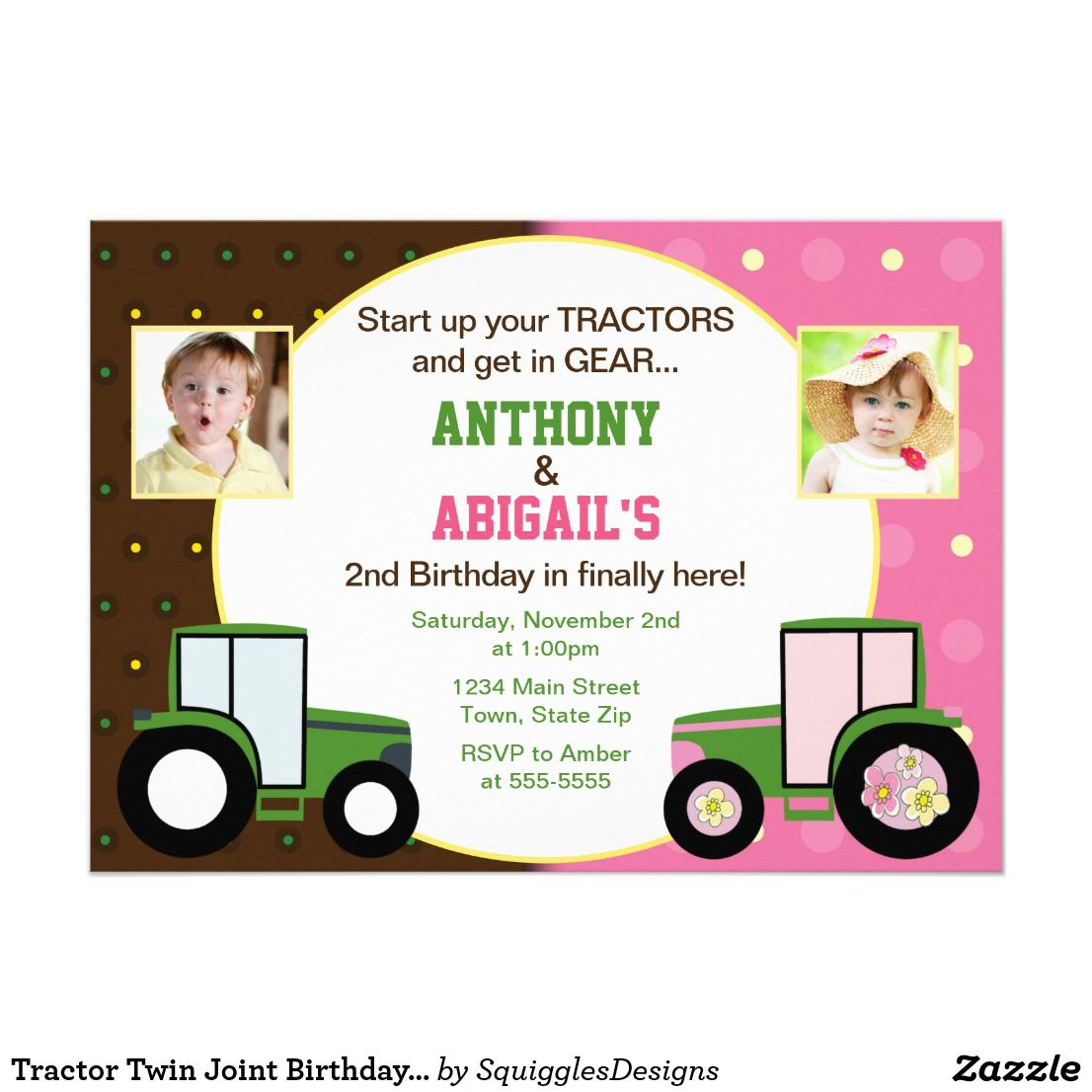 Tractor Twin Joint Birthday Invitation Photo Card