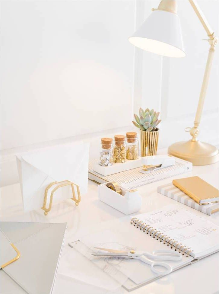 White + Gold Desk  White office decor, Gold office decor, Work