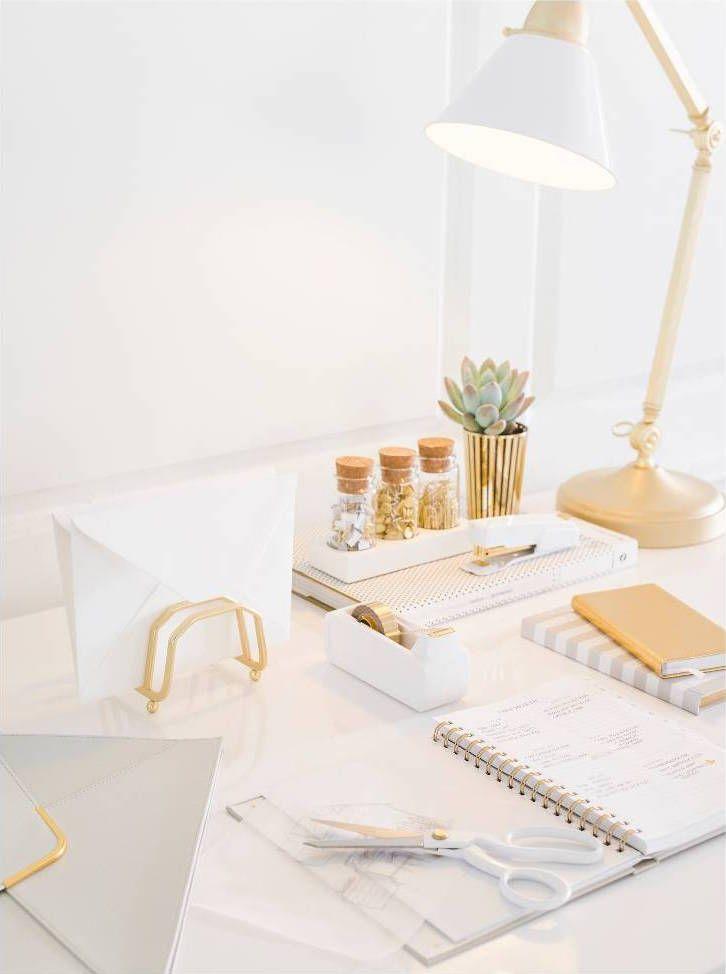 White Gold Desk White Office Decor Gold Office Decor Work Office Decor