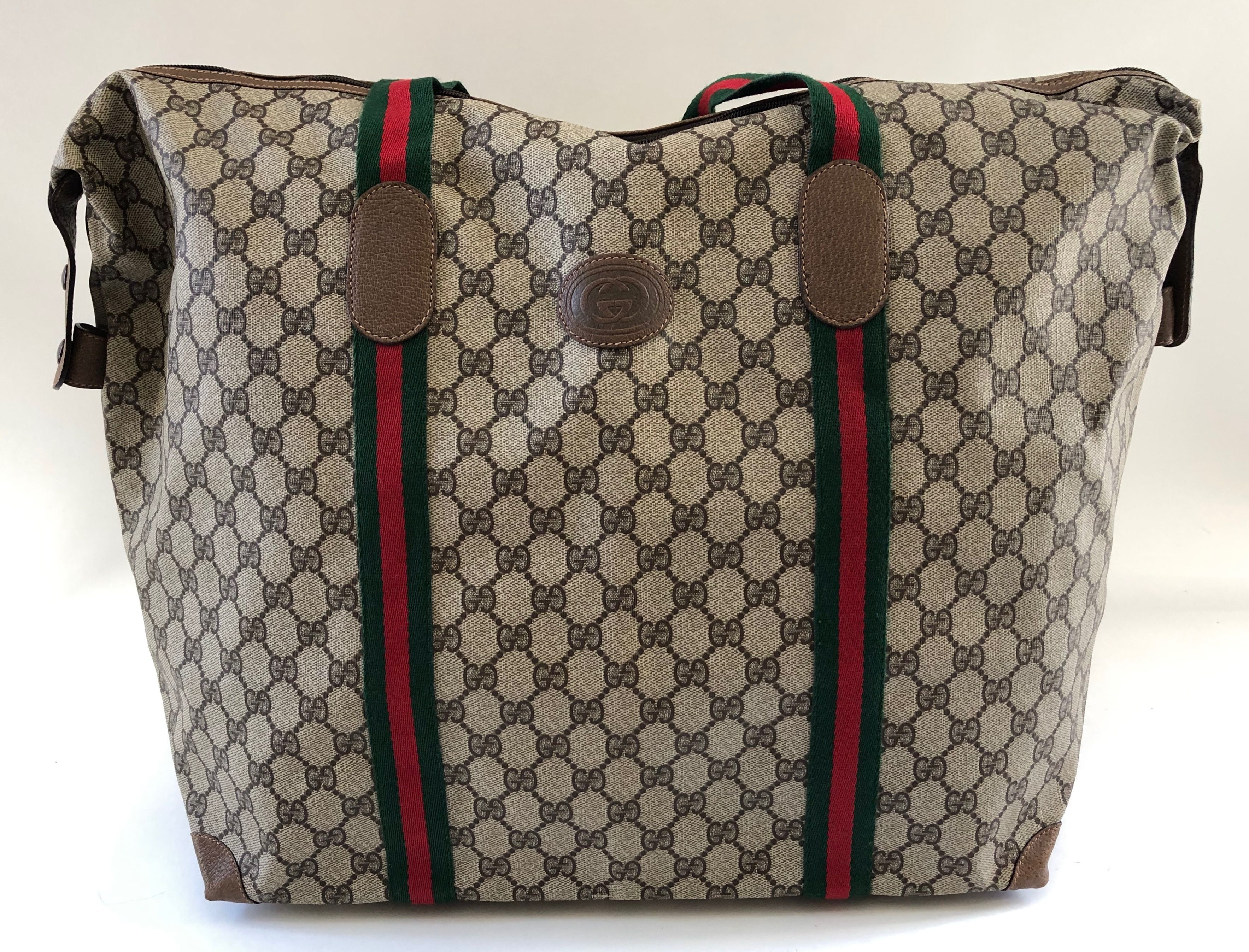 22036a8d8548 Authentic Vintage Gucci Brown GG Supreme Canvas Light-Weight Zippered Tote  80s