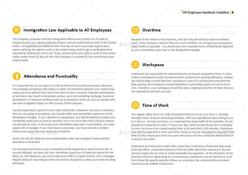Hr Employee Handbook Guideline Template With Images