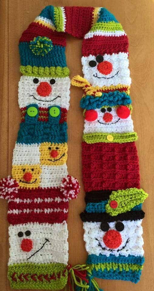 Snowman sampler scarf 2   Cozy crochet   Pinterest   kostenlose ...