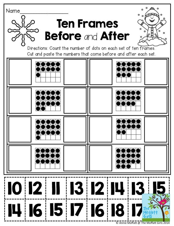 Ten Frames Before And After Cut And Paste The Numbers