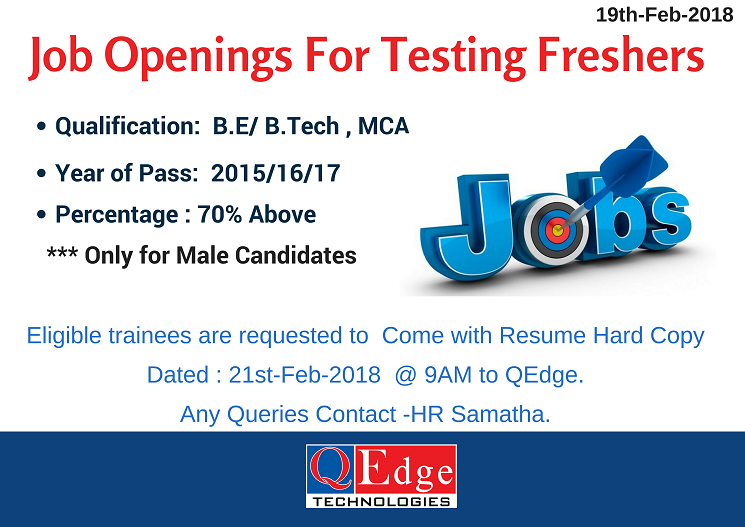 Job Openings for Testing Freshers. Learn Software Testing