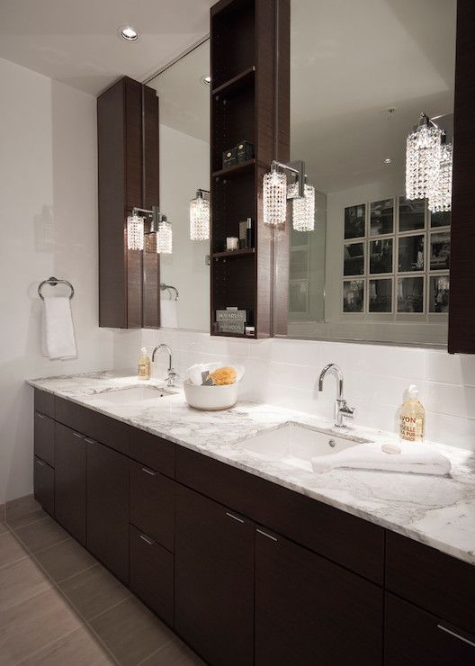 Transitional Bathrooms espresso vanity cabinets, transitional, bathroom, the cross decor