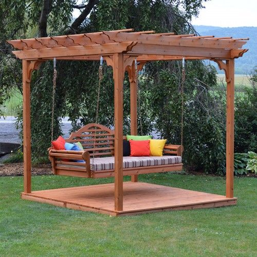 Cedar Pergola Marlboro Swing Bed Set With Deck - 42C | 705C - A&L Furniture Co. Cedar Pergola Marlboro Swing Bed Set With Deck