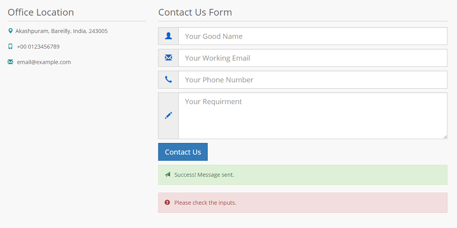 Responsive Contact Us Form Template Page Design In Html5 Bootstrap