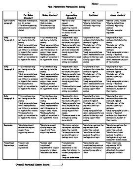 persuasive writing rubric grade 5 pdf
