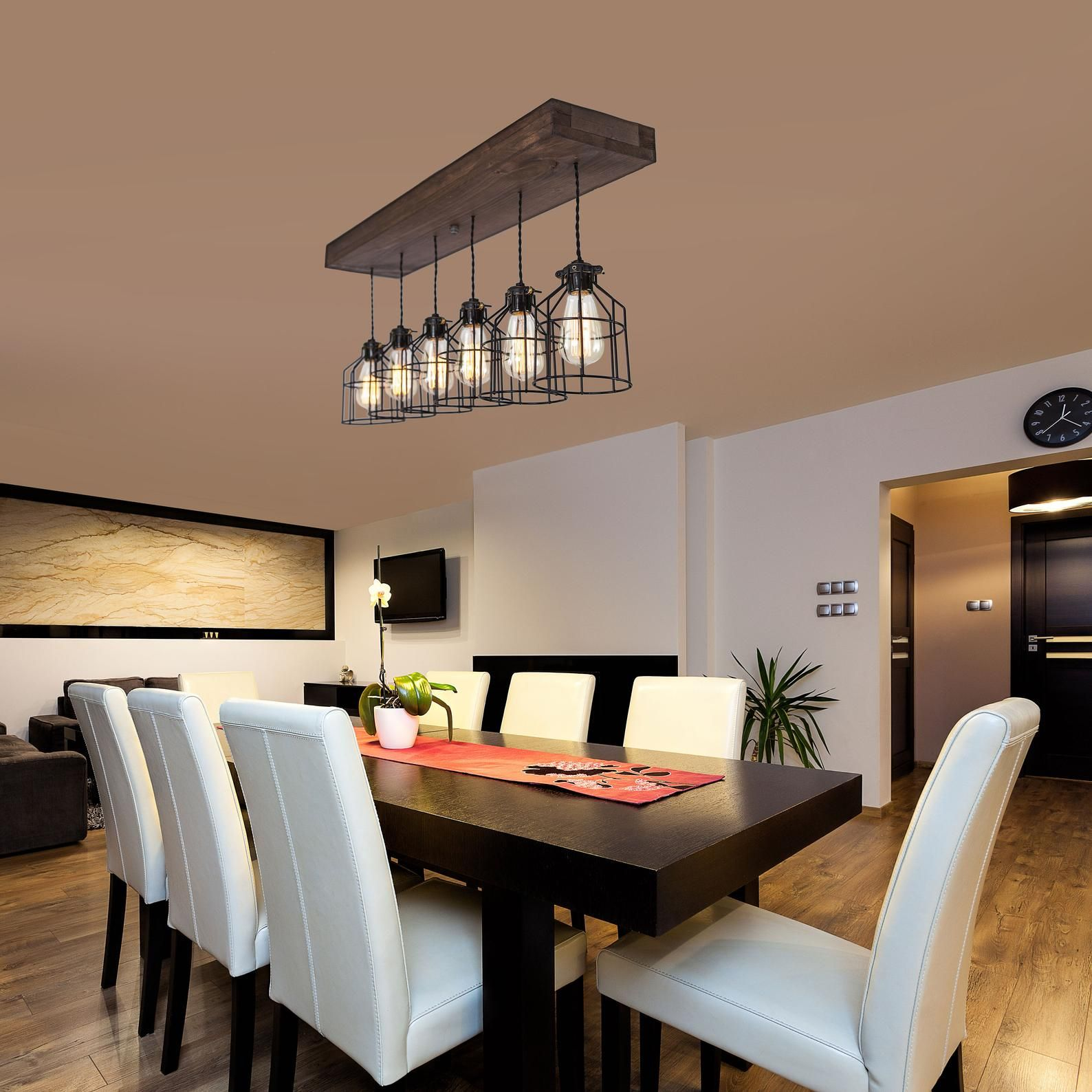Farmhouse wood pendant light fixture / 6 pendant light
