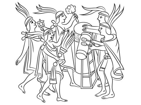 Ceremonia Azteca de la Flor Dibujo para colorear | museo nacional de ...