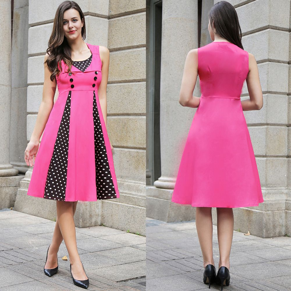 Europe Hot sale pink Women\'s high waist A line dress for women ...