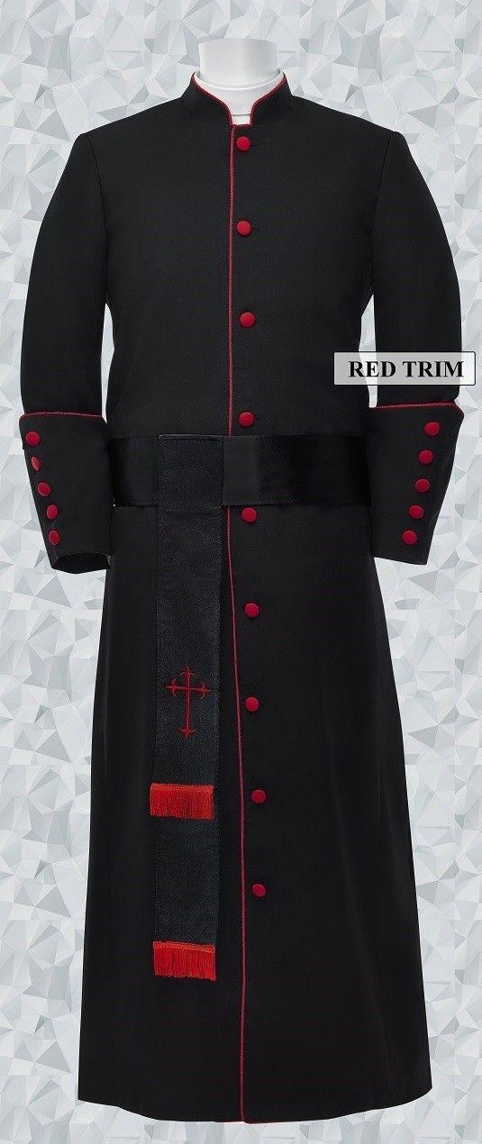 f53f0c0585 181 M. Men s Pastor Clergy Robe - Black Red Matching Cincture Set ...