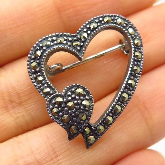Fine Jewelry Vtg 925 Sterling Silver Real Marcasite Gemstone Open Bow Pin Brooch Diamonds & Gemstones