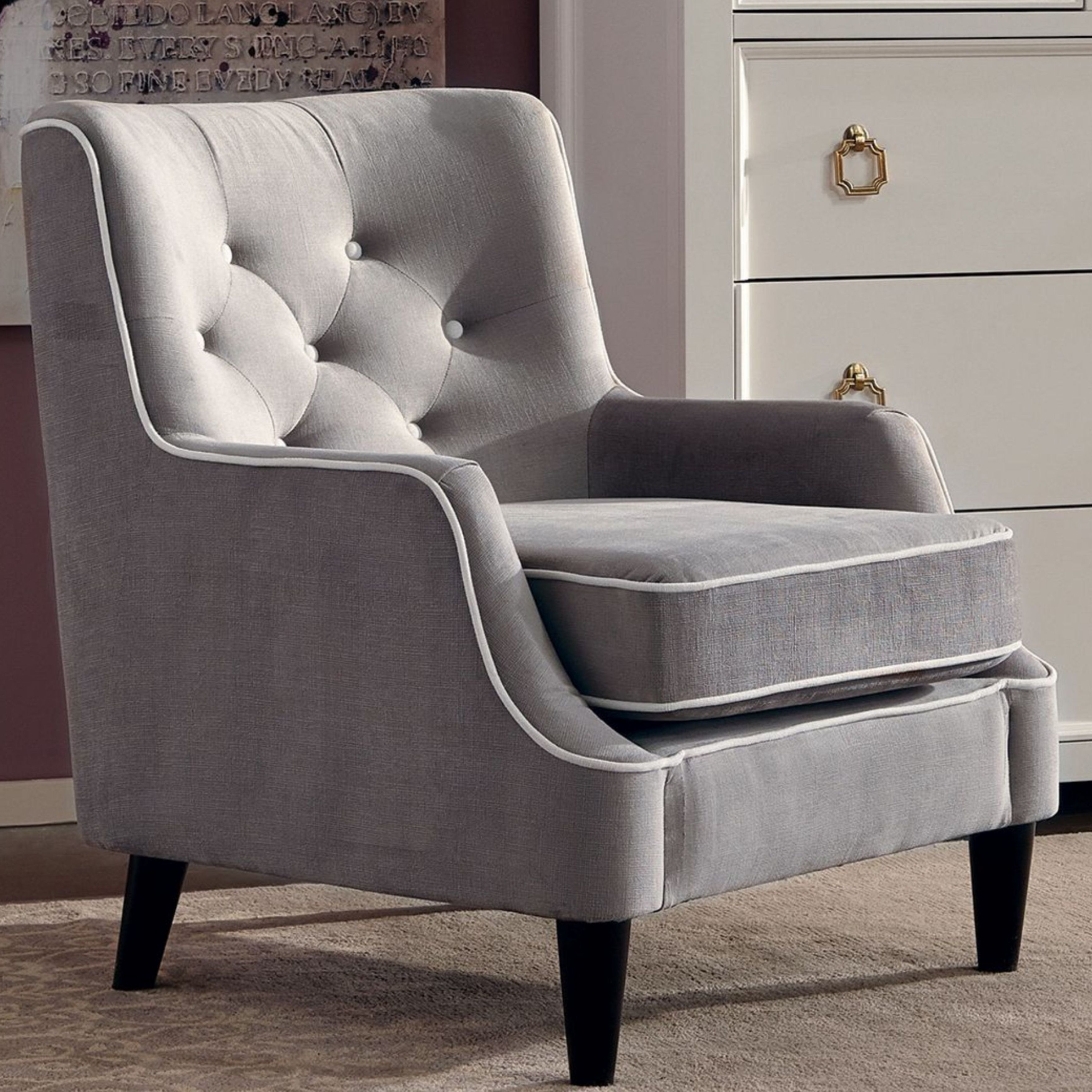 Button Tufted Design Grey Living Room Accent