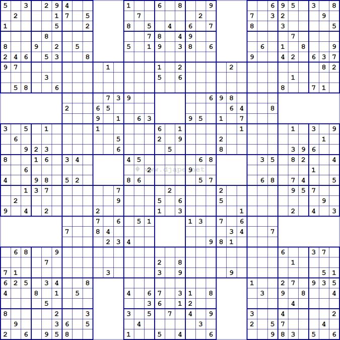 Super Samurai Sudoku 13 Grids Sudoku à Imprimer Sudoku