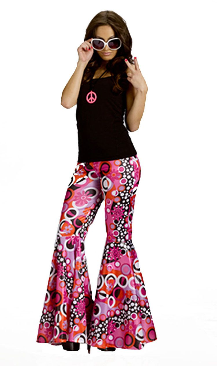 Hippie 60/'s 60s Flared Trousers Bell Bottom Pants Adult Costume Accessory