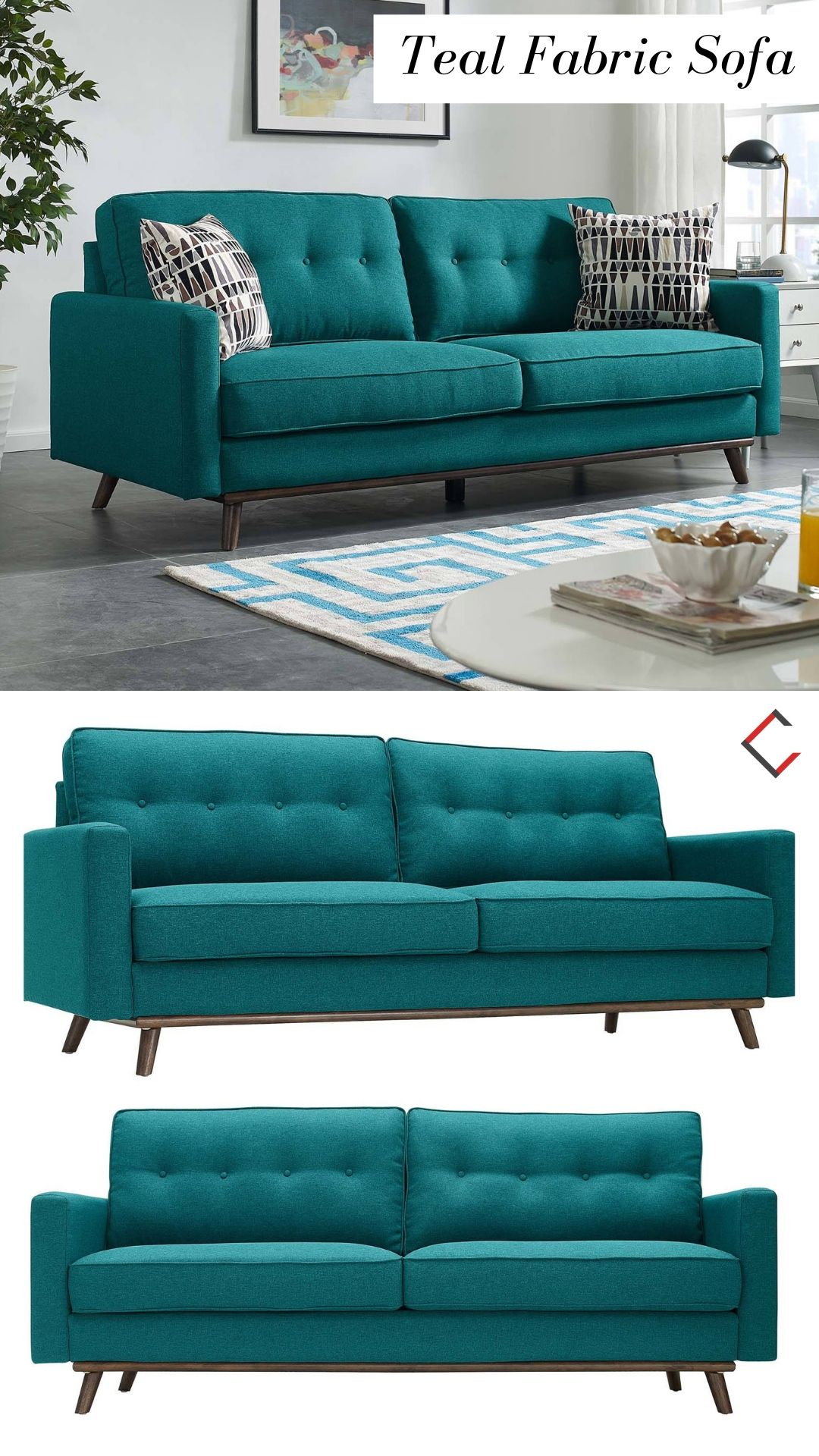 Modway Furniture Prompt Teal Fabric Sofa Furniture Fabric Sofa Night Day Furniture