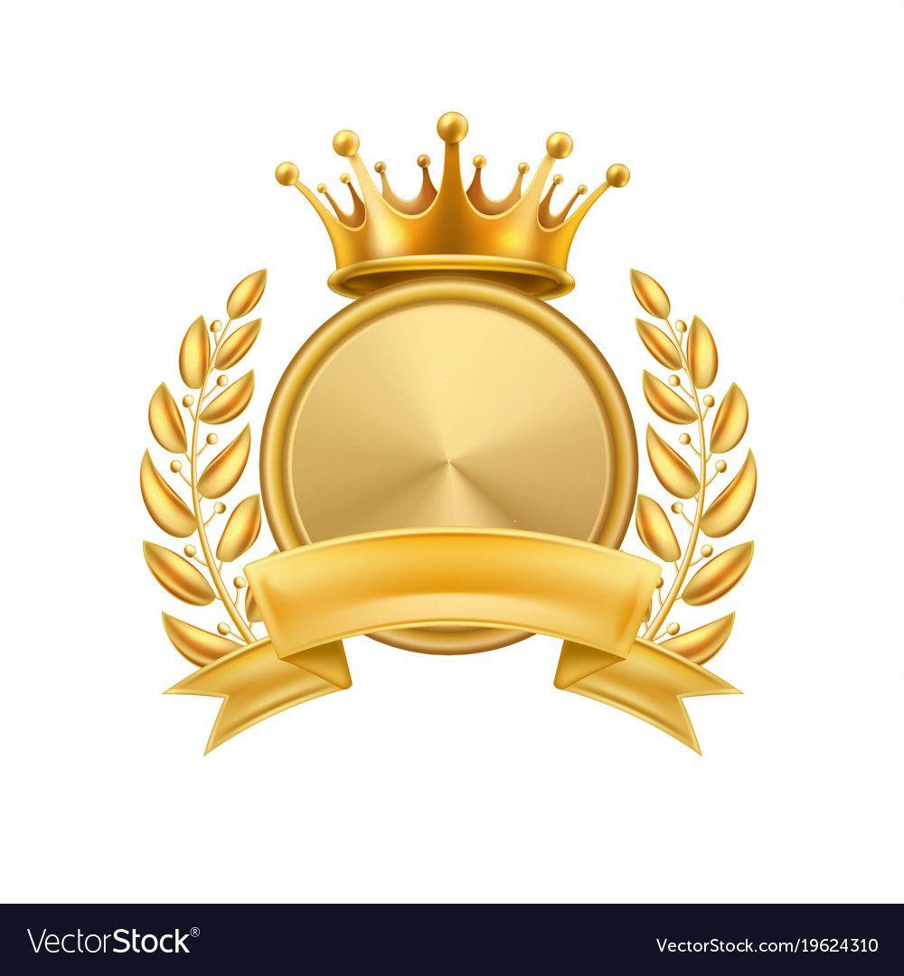 Gold Crown Laurel Wreath Winner Frame Isolated Vector Image Gold Crown Crown Frames Floral Border Design
