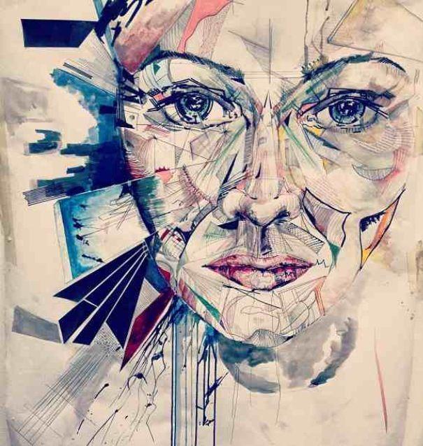 Mixed media piece using biro, various other ink pens ...