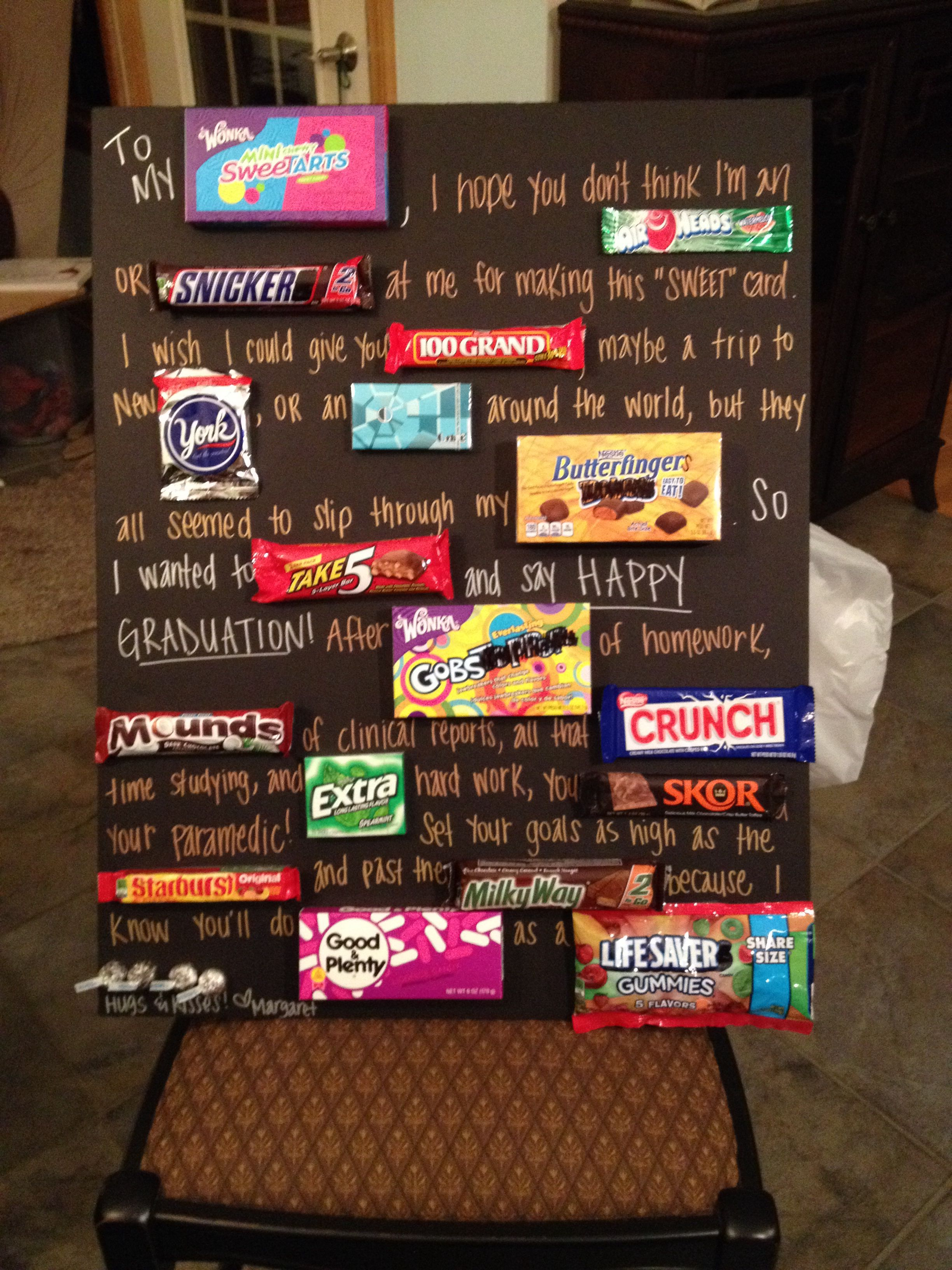 Candy card I made for Chase's graduation from Paramedic