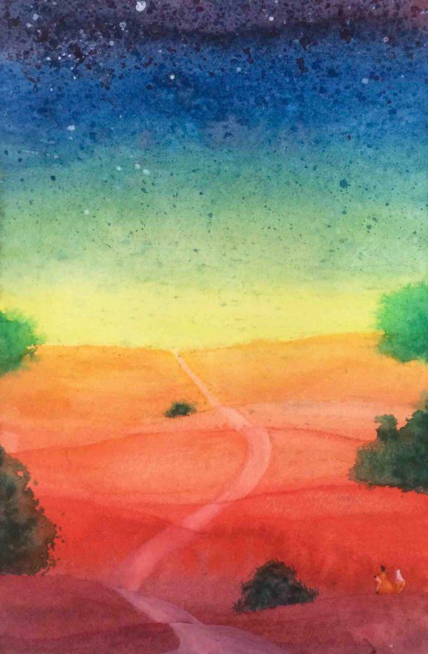 Aquarelle Paysage Dans L Arc En Ciel Art Therapie Methode