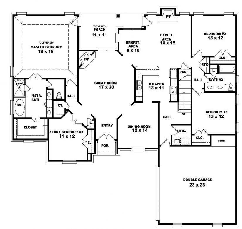 653964 two story 4 bedroom 3 bath french country style Floor plan for four bedroom house