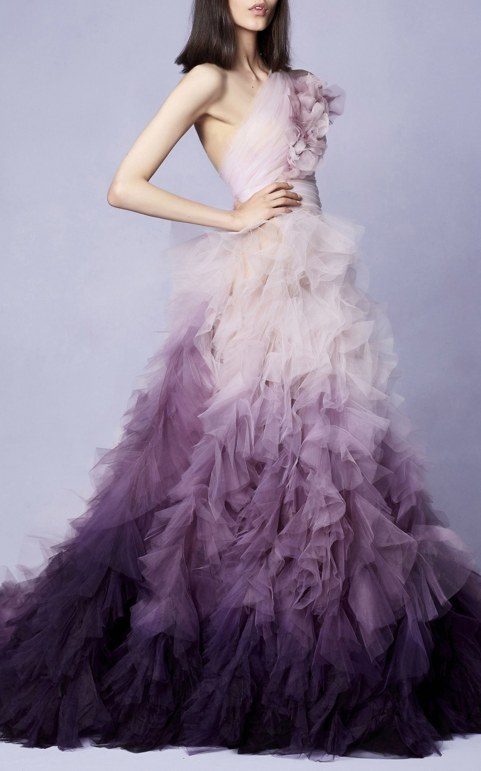 One Shoulder Ombre Gown by MARCHESA for Preorder on Moda Operandi ...