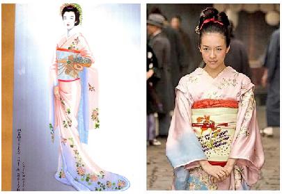 A la izquierda, boceto de kimono. A la derecha, una escena de la película donde la protagonista luce el mismo diseño.
