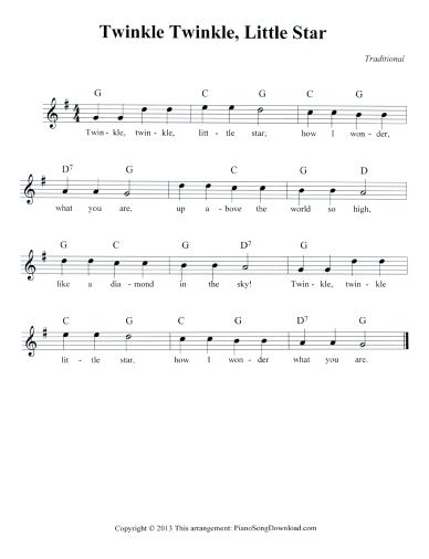 Twinkle Twinkle Little Star Free Lead Sheet To Download And Print
