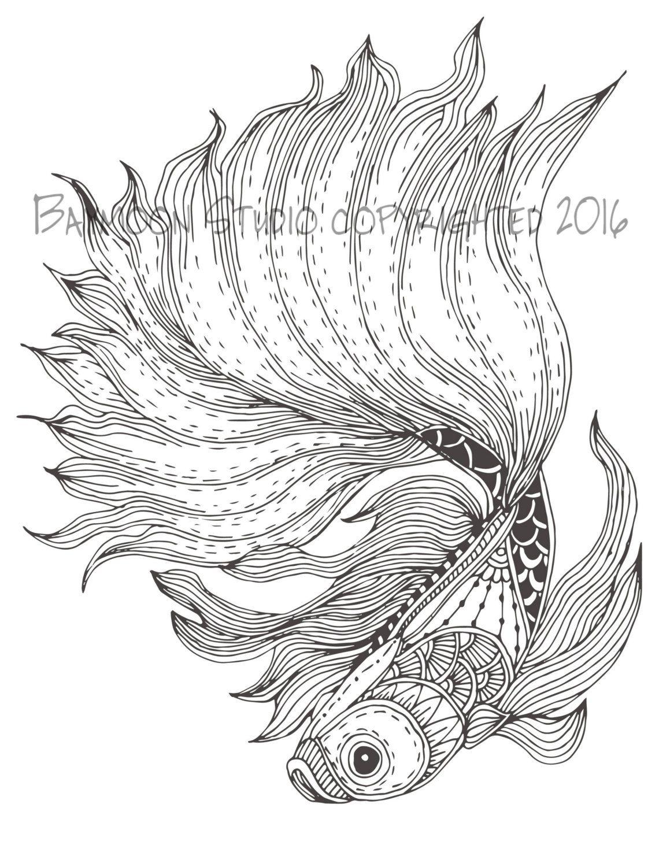 Página para colorear de pez luchador siamés por BAYMOONSTUDIO ...