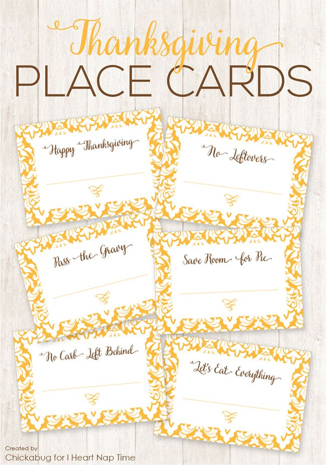 Free Printable Thanksgiving Place Cards Thanksgiving Place Cards - Celebrate it templates place cards