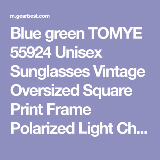 731c1a779641 TOMYE 55924 Unisex Sunglasses Vintage Oversized Square Print Frame  Polarized Light Chic Glasses