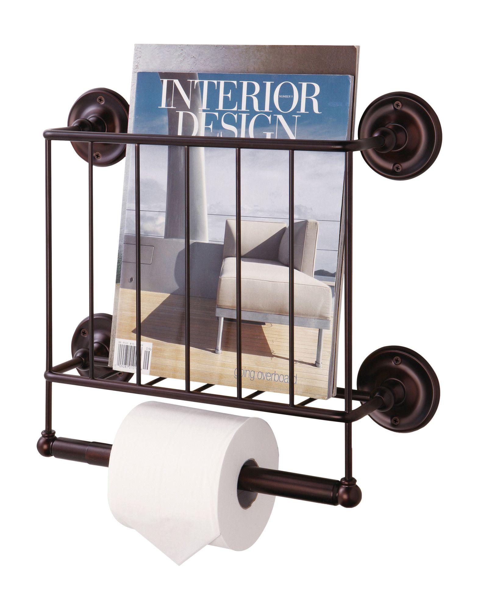 Interdesign York Lyra Over The Tank Magazine Holder Bronze WallMount Magazine Holder in Bronze Home ideas Pinterest 38