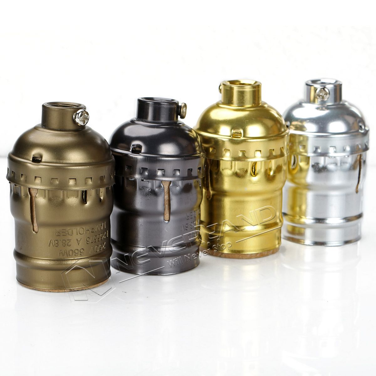 Classic Retro Edison Lamp Holder Socket E27 Bulb Base Pearl Black Antique Brass Gold Silver E27 Ul 110v 220v L Vintage Pendant Lamp Light Accessories Lamp Bulb